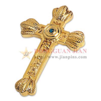 Cross Lapel Pin With Stones